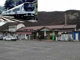石和温泉駅とE257系あずさ